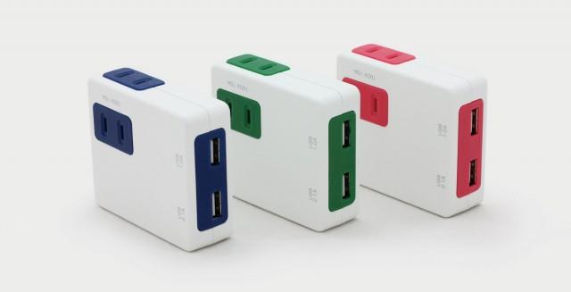 3色から選べるUSB付き電源タップ