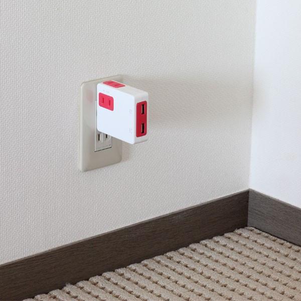 USB2口、コンセント2口のコンセント電源タップNico