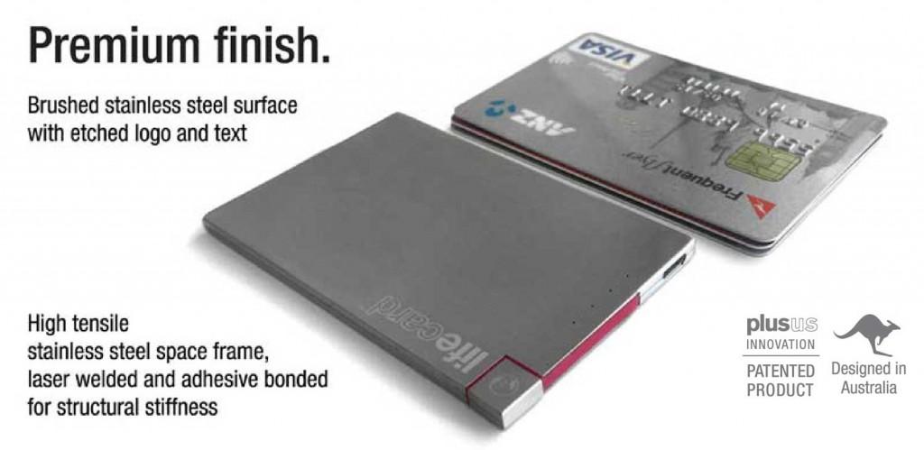 高級仕上げ!財布・定期入れに入るスマホ充電バッテリー「LIFECARD」
