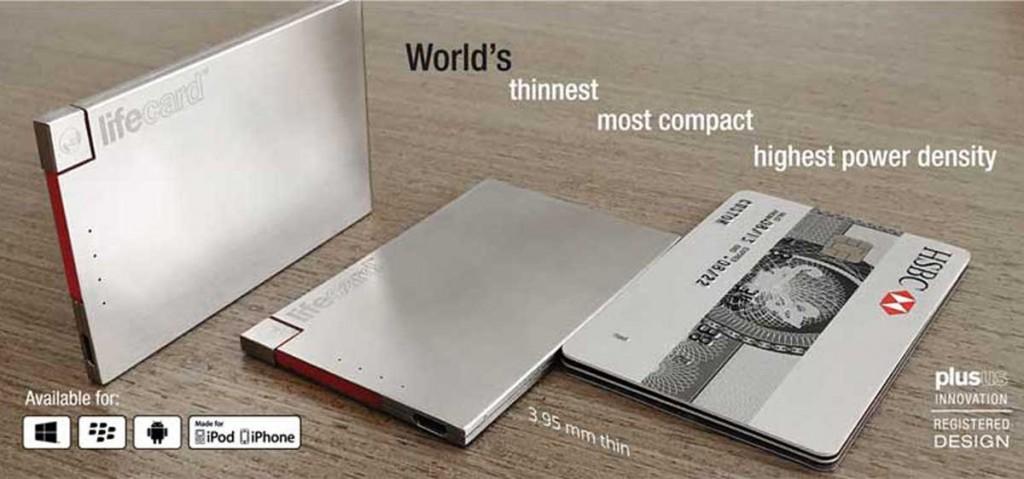 カードサイズで財布に入るスマホ充電バッテリーLIFECARD